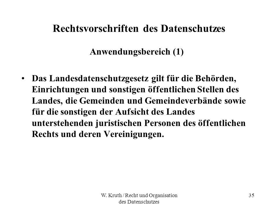 W. Kruth / Recht und Organisation des Datenschutzes 35 Rechtsvorschriften des Datenschutzes Anwendungsbereich (1) Das Landesdatenschutzgesetz gilt für