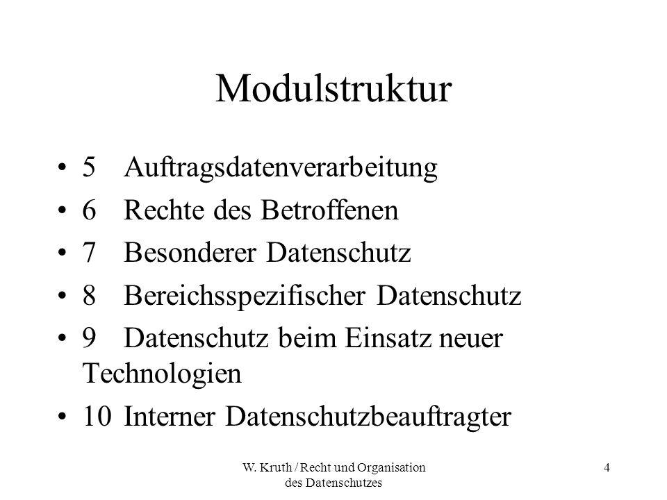 W. Kruth / Recht und Organisation des Datenschutzes 4 Modulstruktur 5Auftragsdatenverarbeitung 6Rechte des Betroffenen 7Besonderer Datenschutz 8Bereic
