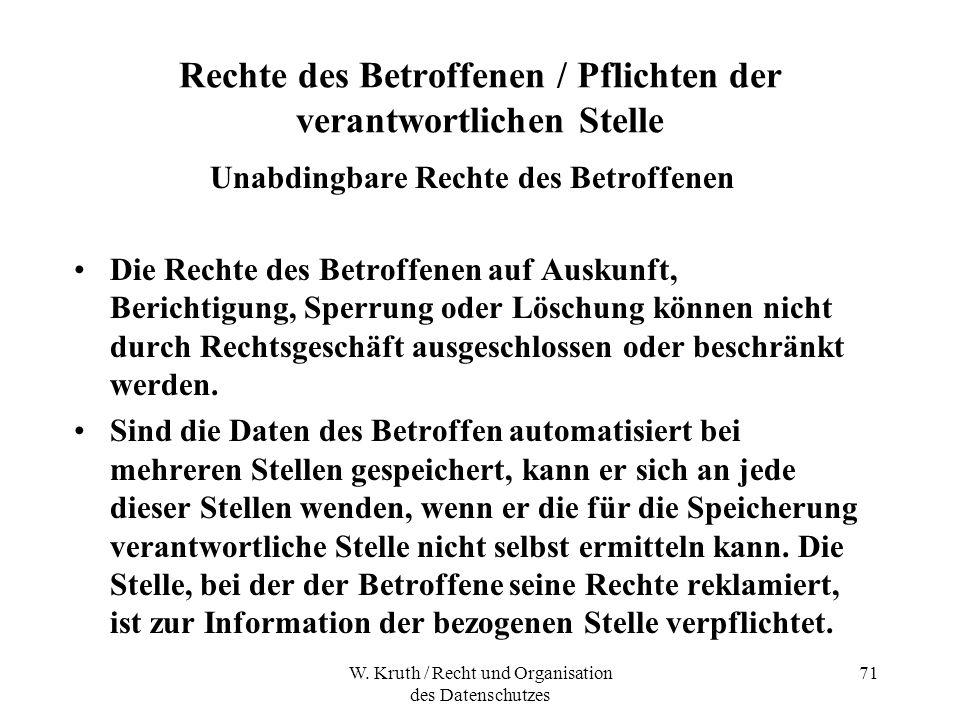 W. Kruth / Recht und Organisation des Datenschutzes 71 Rechte des Betroffenen / Pflichten der verantwortlichen Stelle Unabdingbare Rechte des Betroffe