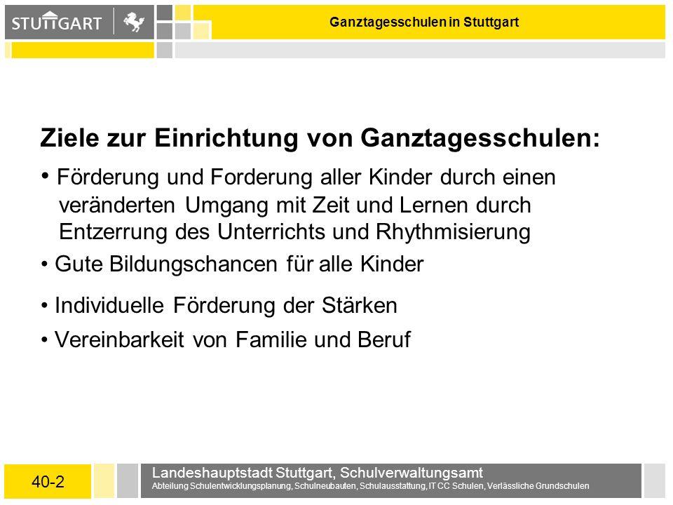 40-2 Landeshauptstadt Stuttgart, Schulverwaltungsamt Abteilung Schulentwicklungsplanung, Schulneubauten, Schulausstattung, IT CC Schulen, Verlässliche