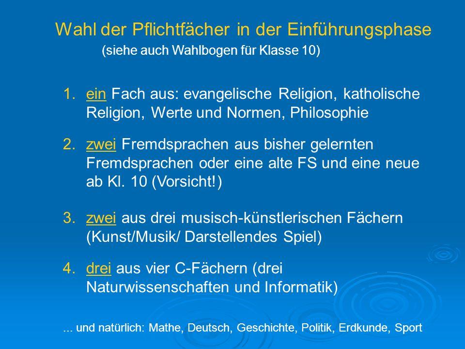 Wahl der Pflichtfächer in der Einführungsphase (siehe auch Wahlbogen für Klasse 10) 1.ein Fach aus: evangelische Religion, katholische Religion, Werte