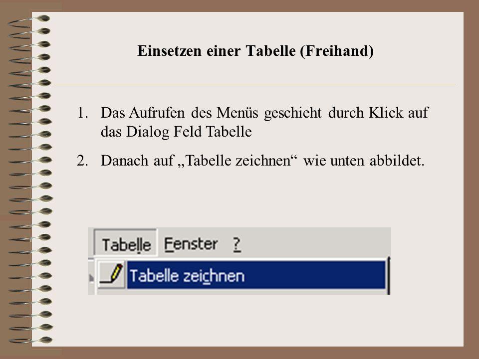 Einsetzen einer Tabelle (Freihand) 1.Das Aufrufen des Menüs geschieht durch Klick auf das Dialog Feld Tabelle 2.Danach auf Tabelle zeichnen wie unten abbildet.