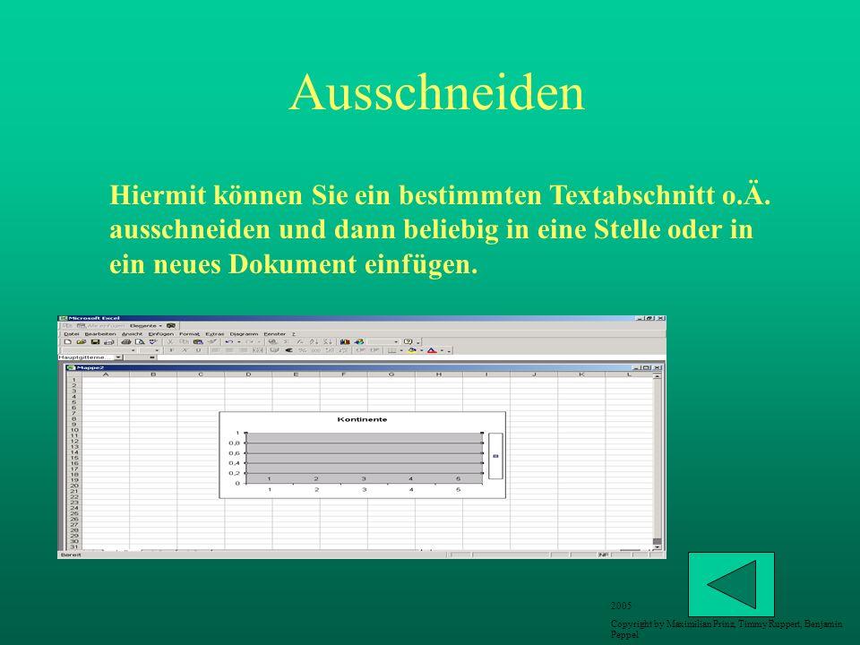 Ausschneiden Hiermit können Sie ein bestimmten Textabschnitt o.Ä. ausschneiden und dann beliebig in eine Stelle oder in ein neues Dokument einfügen. 2