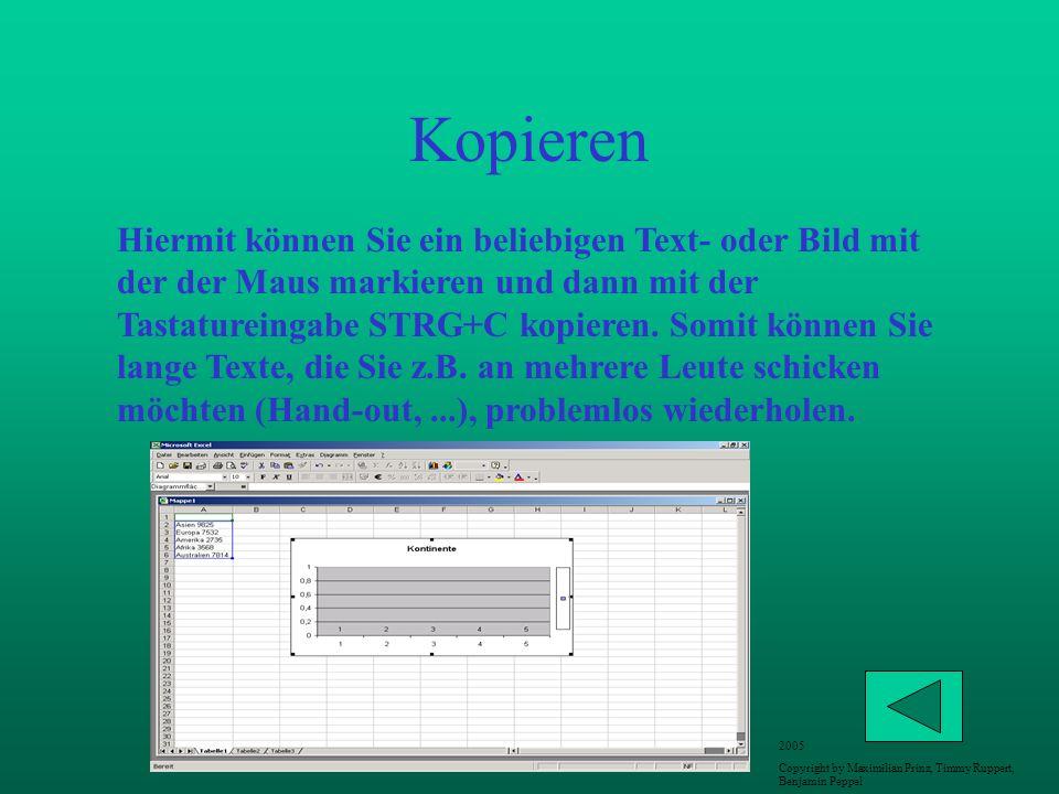 Kopieren Hiermit können Sie ein beliebigen Text- oder Bild mit der der Maus markieren und dann mit der Tastatureingabe STRG+C kopieren. Somit können S