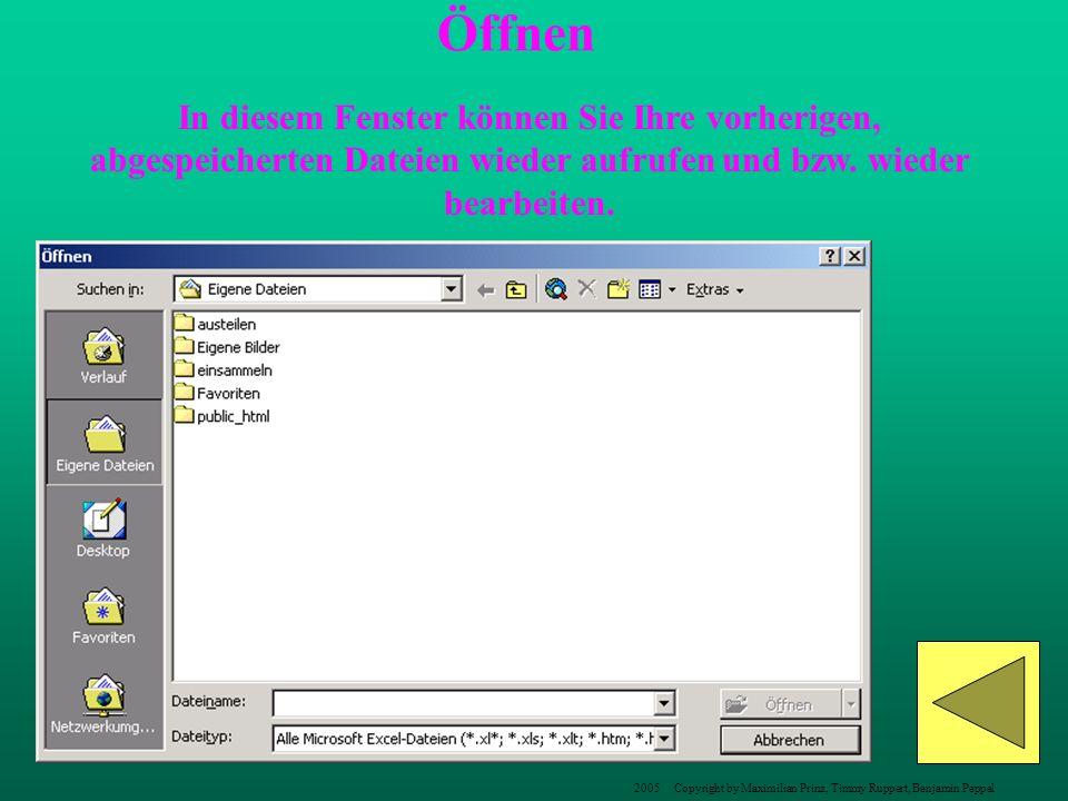 In diesem Fenster können Sie Ihre vorherigen, abgespeicherten Dateien wieder aufrufen und bzw. wieder bearbeiten. Öffnen 2005 Copyright by Maximilian