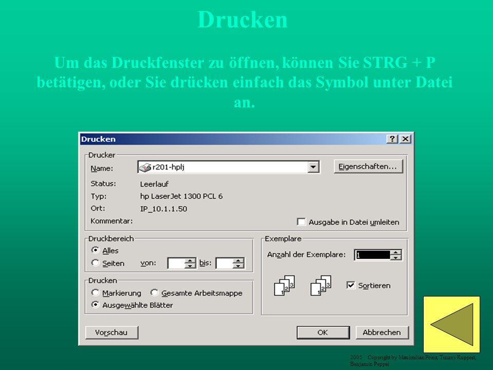 Um das Druckfenster zu öffnen, können Sie STRG + P betätigen, oder Sie drücken einfach das Symbol unter Datei an. Drucken 2005 Copyright by Maximilian