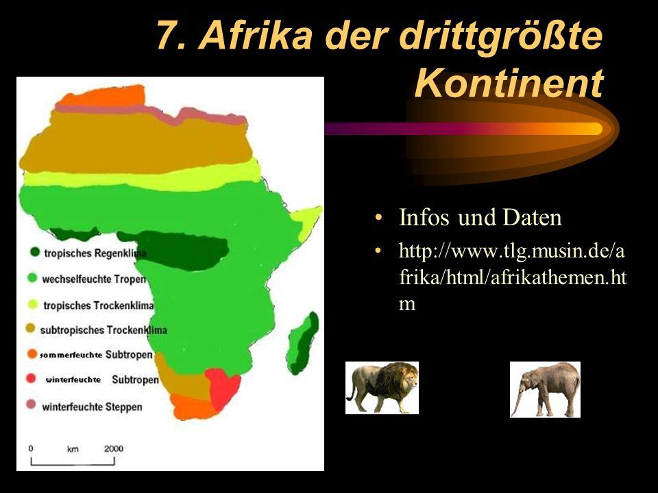 7. Afrika der drittgrößte Kontinent Infos und Daten http://www.tlg.musin.de/a frika/html/afrikathemen.ht m