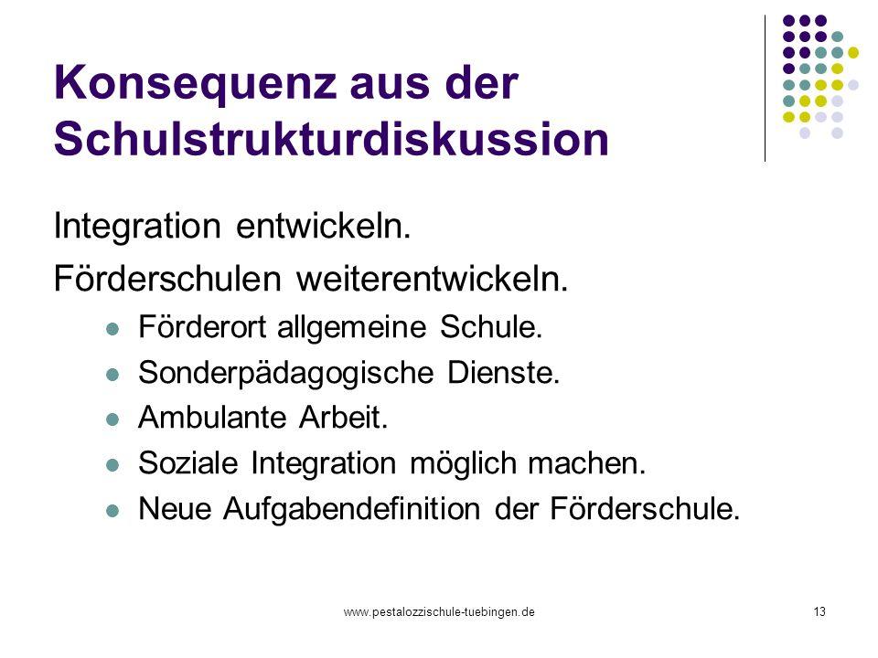 www.pestalozzischule-tuebingen.de13 Konsequenz aus der Schulstrukturdiskussion Integration entwickeln. Förderschulen weiterentwickeln. Förderort allge