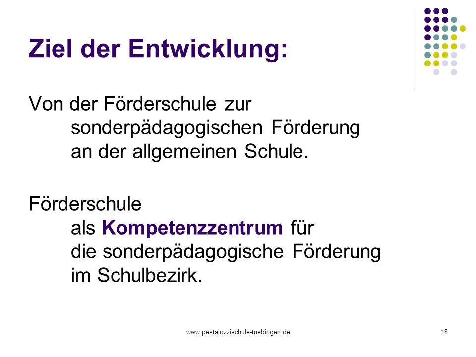 www.pestalozzischule-tuebingen.de18 Ziel der Entwicklung: Von der Förderschule zur sonderpädagogischen Förderung an der allgemeinen Schule. Förderschu