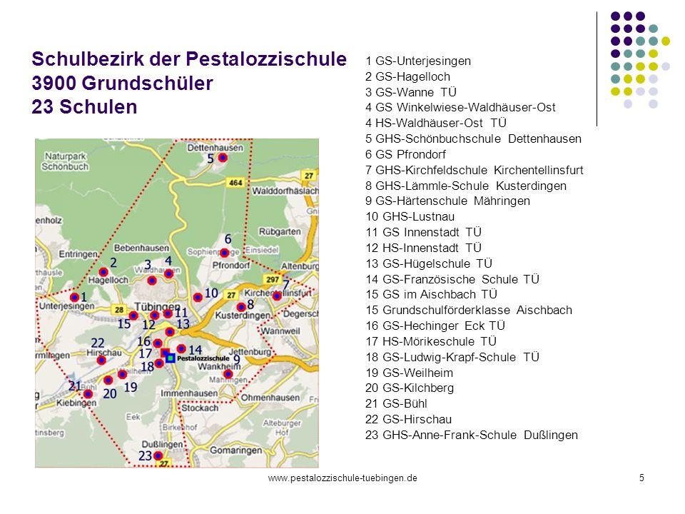 www.pestalozzischule-tuebingen.de5 Schulbezirk der Pestalozzischule 3900 Grundschüler 23 Schulen 1 GS-Unterjesingen 2 GS-Hagelloch 3 GS-Wanne TÜ 4 GS