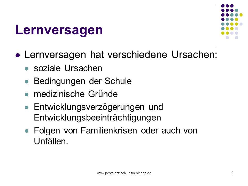 www.pestalozzischule-tuebingen.de9 Lernversagen Lernversagen hat verschiedene Ursachen: soziale Ursachen Bedingungen der Schule medizinische Gründe En