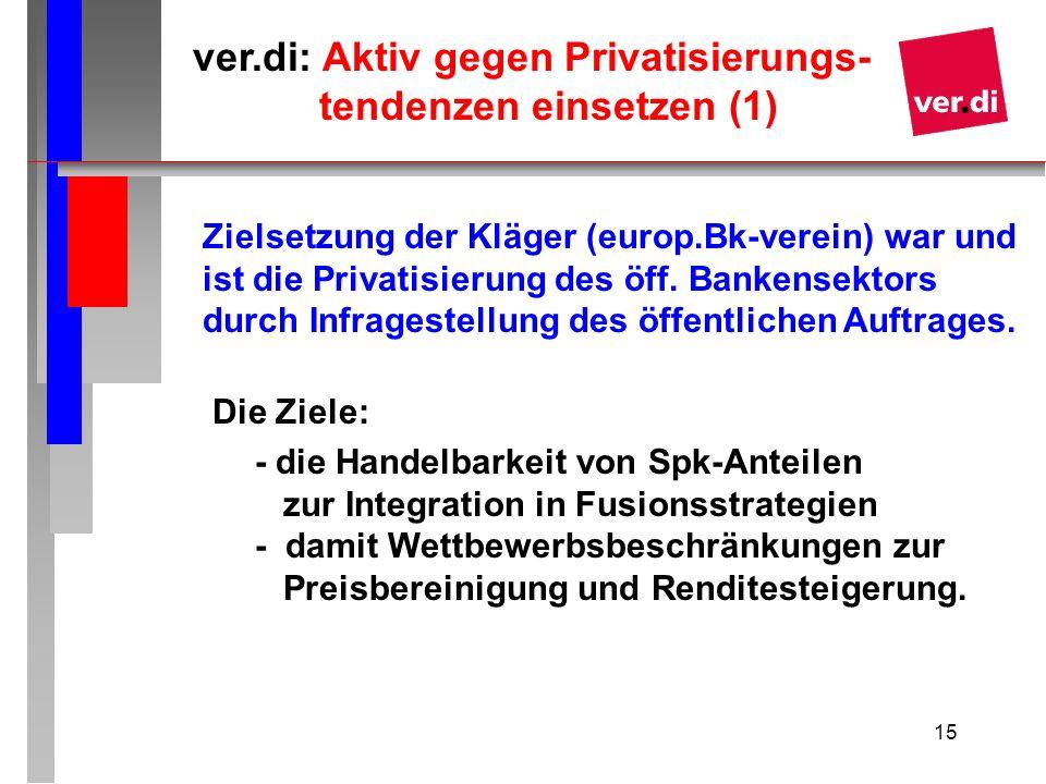 15 ver.di: Aktiv gegen Privatisierungs- tendenzen einsetzen (1) Zielsetzung der Kläger (europ.Bk-verein) war und ist die Privatisierung des öff. Banke