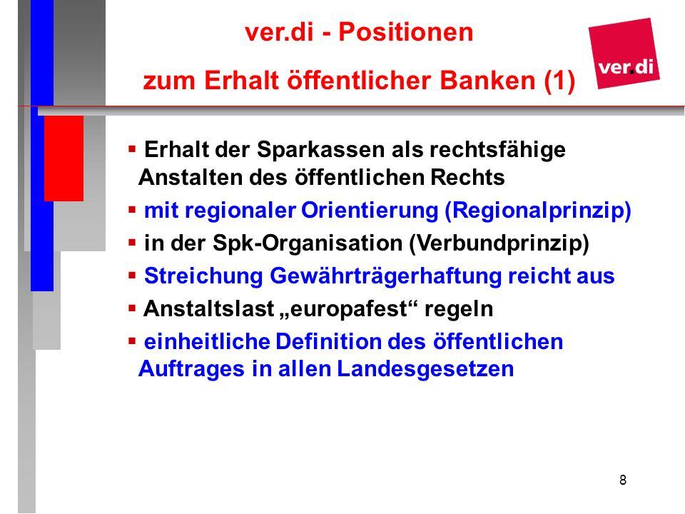 9 Weitergehende ver.di – Positionen (2) Die Versorgung mit Bankdienstleistungen ist von der EU-Kommission als Daseinsvorsorge anzuerkennen Die Mitbestimmung der Personalräte und Verwaltungsräte ist zu verbessern, Eine Legitimationskette bei der Besetzung der VR-Mandate ist zu streichen Eine Drittelparität in Verwaltungsräten ist auf volle Parität zu erweitern Erhalt des Flächentarifvertrages