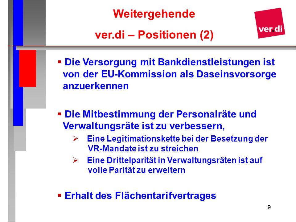 9 Weitergehende ver.di – Positionen (2) Die Versorgung mit Bankdienstleistungen ist von der EU-Kommission als Daseinsvorsorge anzuerkennen Die Mitbest