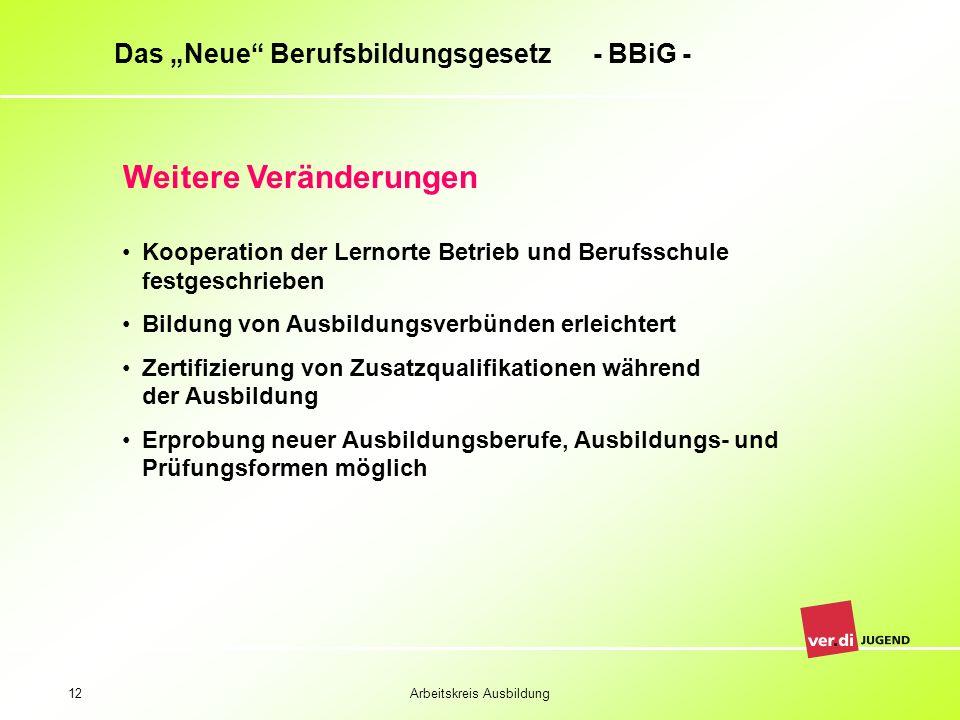 Arbeitskreis Ausbildung12 Das Neue Berufsbildungsgesetz - BBiG - Weitere Veränderungen Kooperation der Lernorte Betrieb und Berufsschule festgeschrieb