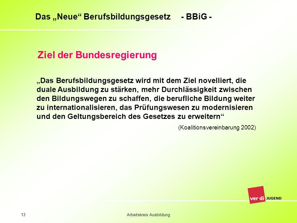 Arbeitskreis Ausbildung13 Das Neue Berufsbildungsgesetz - BBiG - Ziel der Bundesregierung Das Berufsbildungsgesetz wird mit dem Ziel novelliert, die d