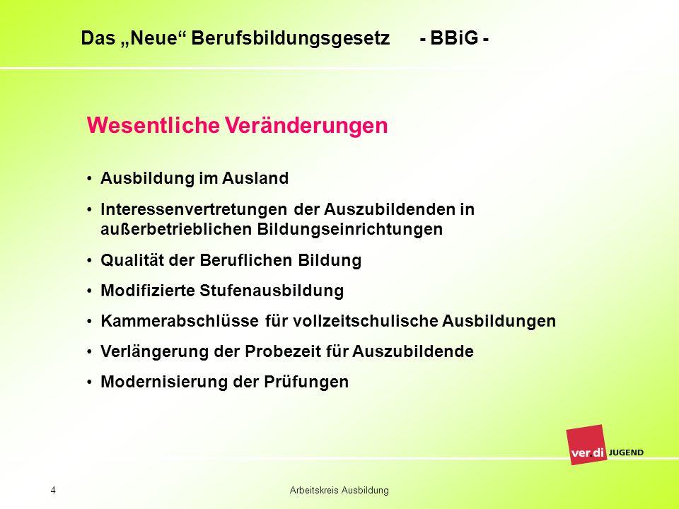 Arbeitskreis Ausbildung4 Das Neue Berufsbildungsgesetz - BBiG - Wesentliche Veränderungen Ausbildung im Ausland Interessenvertretungen der Auszubilden