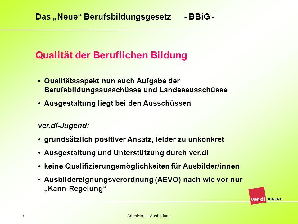 Arbeitskreis Ausbildung7 Das Neue Berufsbildungsgesetz - BBiG - Qualität der Beruflichen Bildung Qualitätsaspekt nun auch Aufgabe der Berufsbildungsau