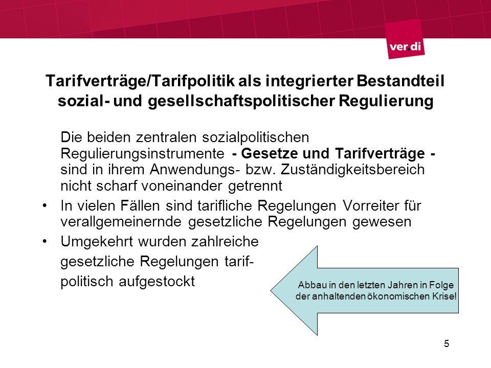 5 Tarifverträge/Tarifpolitik als integrierter Bestandteil sozial- und gesellschaftspolitischer Regulierung Die beiden zentralen sozialpolitischen Regu