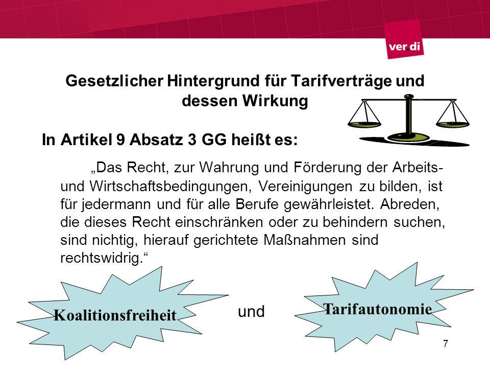 7 Gesetzlicher Hintergrund für Tarifverträge und dessen Wirkung In Artikel 9 Absatz 3 GG heißt es: Das Recht, zur Wahrung und Förderung der Arbeits- u