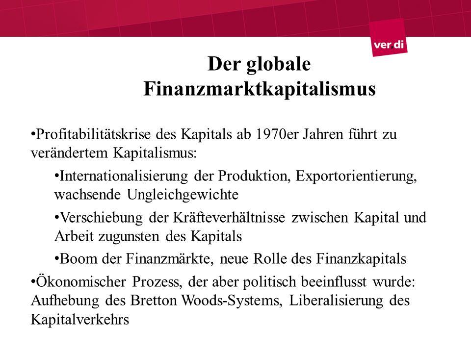 Übergang zum Finanzmarkt- Kapitalismus Finanzmärkte: Aktienmarkt, Anleihemarkt, Derivatemarkt, Devisenmarkt Verbriefung von Krediten: Forderungen werden in handelbare Papiere verwandelt Starke Zunahme des Handels mit Finanzprodukten seit den 80er Jahren Übergang von bank- zu kapitalmarktorientierten Finanzsystemen