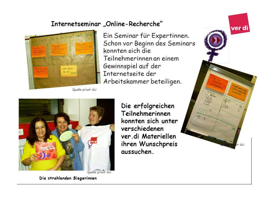 Internetseminar Online-Recherche Ein Seminar für Expertinnen. Schon vor Beginn des Seminars konnten sich die Teilnehmerinnen an einem Gewinnspiel auf