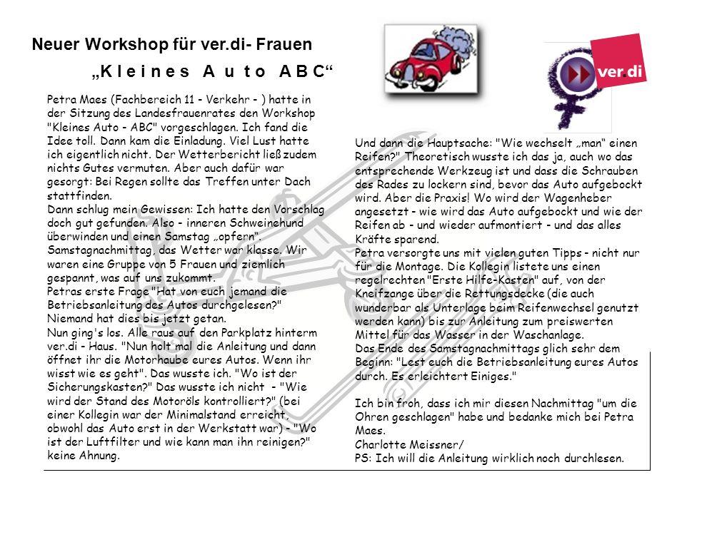 Petra Maes (Fachbereich 11 - Verkehr - ) hatte in der Sitzung des Landesfrauenrates den Workshop