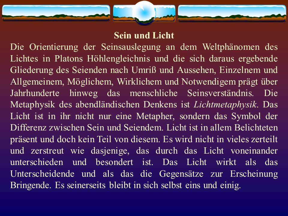 Sein und Licht Die Orientierung der Seinsauslegung an dem Weltphänomen des Lichtes in Platons Höhlengleichnis und die sich daraus ergebende Gliederung