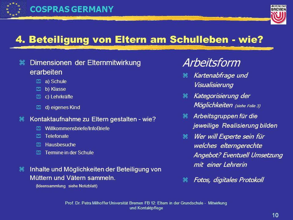 COSPRAS GERMANY Prof. Dr. Petra Milhoffer Universität Bremen FB 12: Eltern in der Grundschule - Mitwirkung und Kontaktpflege 10 4. Beteiligung von Elt