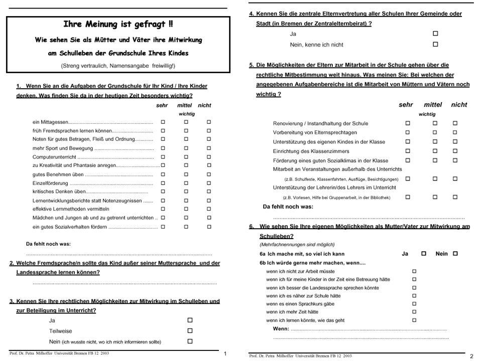 COSPRAS GERMANY Prof. Dr. Petra Milhoffer Universität Bremen FB 12: Eltern in der Grundschule - Mitwirkung und Kontaktpflege 12