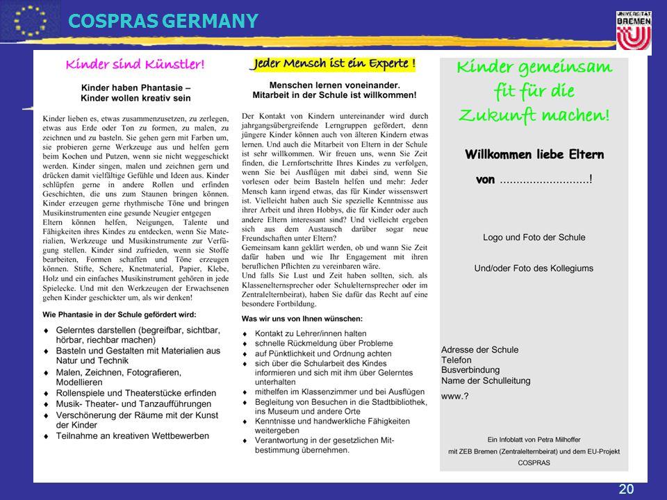 COSPRAS GERMANY Prof. Dr. Petra Milhoffer Universität Bremen FB 12: Eltern in der Grundschule - Mitwirkung und Kontaktpflege 20