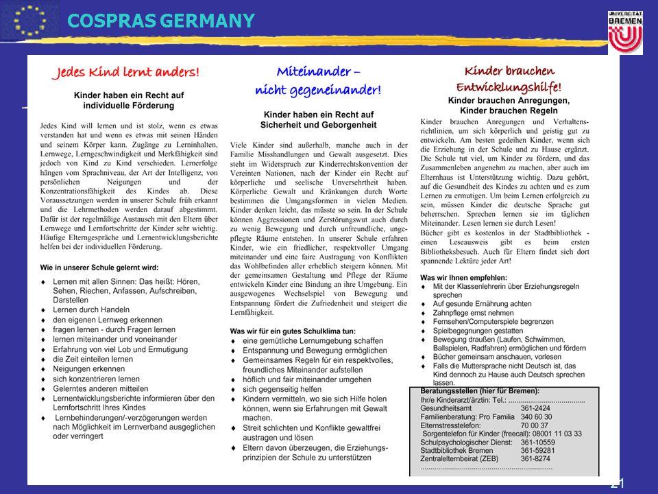 COSPRAS GERMANY Prof. Dr. Petra Milhoffer Universität Bremen FB 12: Eltern in der Grundschule - Mitwirkung und Kontaktpflege 21