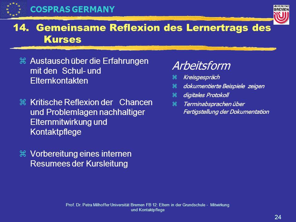 COSPRAS GERMANY Prof. Dr. Petra Milhoffer Universität Bremen FB 12: Eltern in der Grundschule - Mitwirkung und Kontaktpflege 24 14. Gemeinsame Reflexi