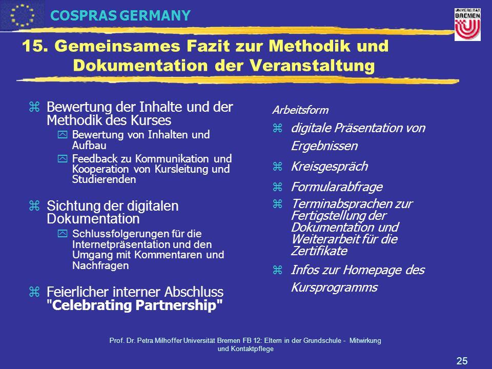 COSPRAS GERMANY Prof. Dr. Petra Milhoffer Universität Bremen FB 12: Eltern in der Grundschule - Mitwirkung und Kontaktpflege 25 15. Gemeinsames Fazit