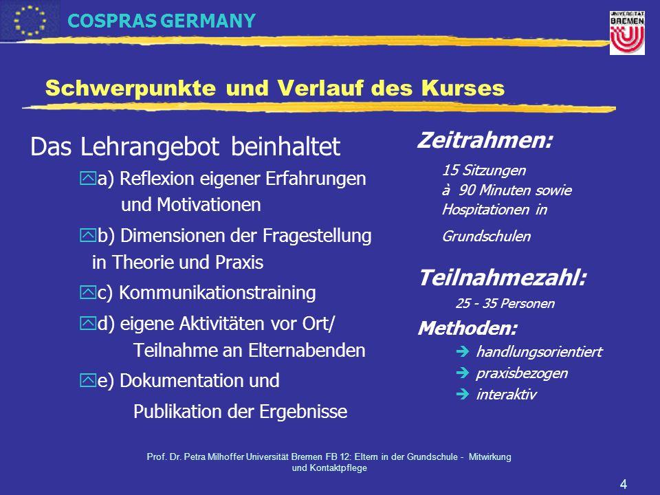 COSPRAS GERMANY Prof. Dr. Petra Milhoffer Universität Bremen FB 12: Eltern in der Grundschule - Mitwirkung und Kontaktpflege 4 Schwerpunkte und Verlau