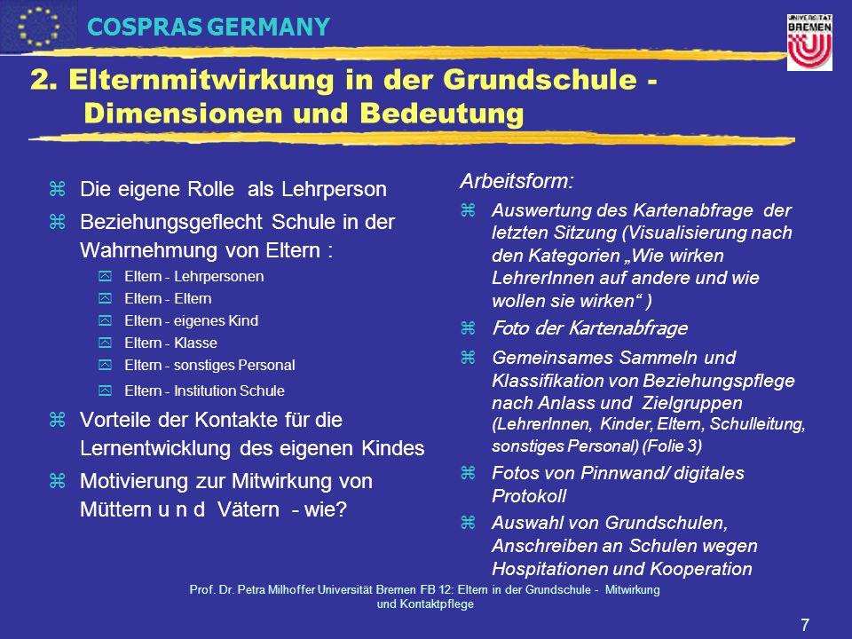 COSPRAS GERMANY Prof. Dr. Petra Milhoffer Universität Bremen FB 12: Eltern in der Grundschule - Mitwirkung und Kontaktpflege 7 2. Elternmitwirkung in