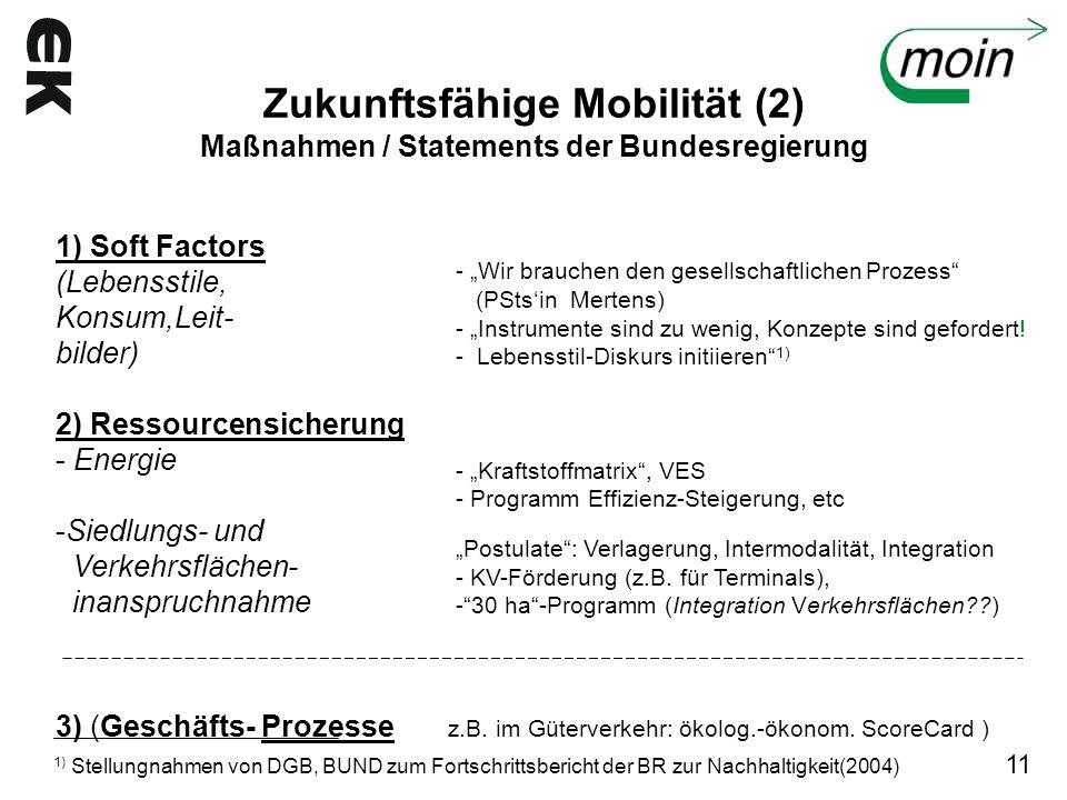 Zukunftsfähige Mobilität (2) Maßnahmen / Statements der Bundesregierung 1) Soft Factors (Lebensstile, Konsum,Leit- bilder) 2) Ressourcensicherung - En