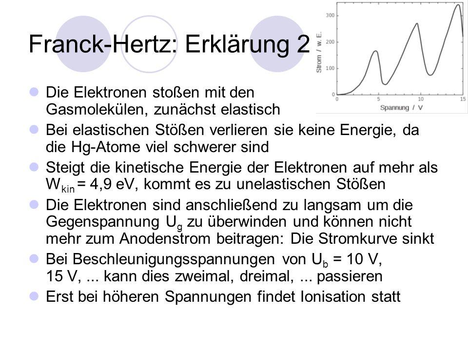 Franck-Hertz: Erklärung 2 Die Elektronen stoßen mit den Gasmolekülen, zunächst elastisch Bei elastischen Stößen verlieren sie keine Energie, da die Hg-Atome viel schwerer sind Steigt die kinetische Energie der Elektronen auf mehr als W kin = 4,9 eV, kommt es zu unelastischen Stößen Die Elektronen sind anschließend zu langsam um die Gegenspannung U g zu überwinden und können nicht mehr zum Anodenstrom beitragen: Die Stromkurve sinkt Bei Beschleunigungsspannungen von U b = 10 V, 15 V,...