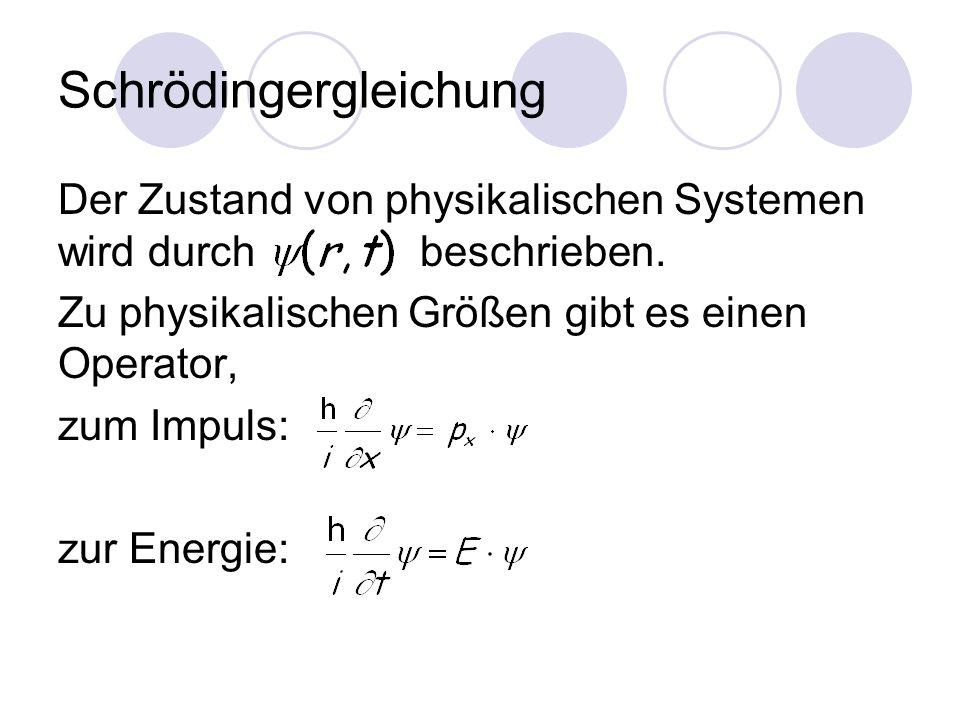 Schrödingergleichung Der Zustand von physikalischen Systemen wird durch beschrieben.