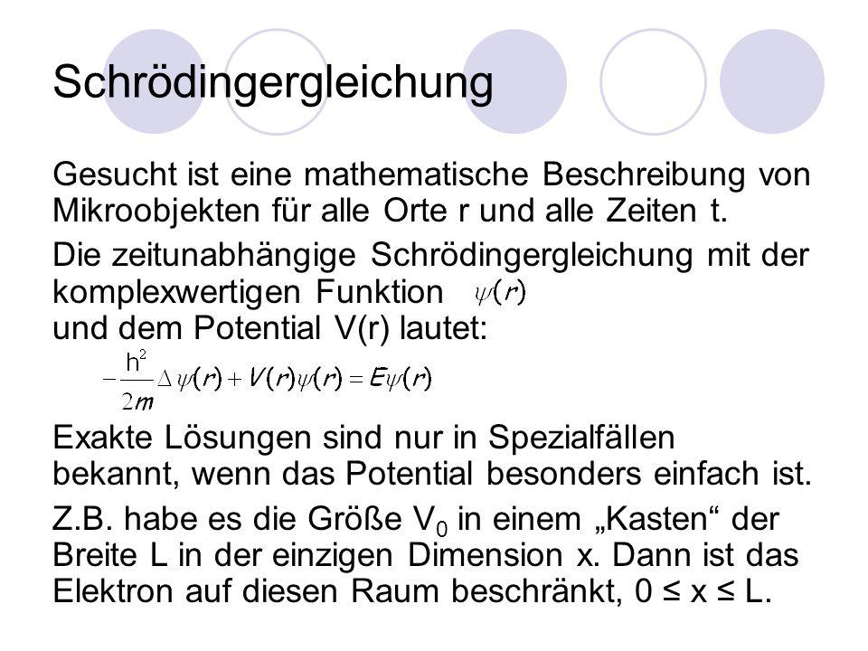 Schrödingergleichung Gesucht ist eine mathematische Beschreibung von Mikroobjekten für alle Orte r und alle Zeiten t.