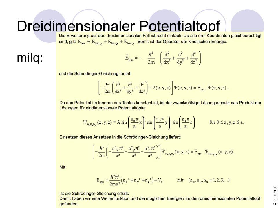 Dreidimensionaler Potentialtopf milq: Quelle: milq