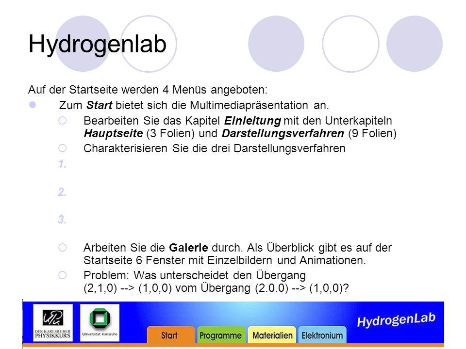 Hydrogenlab Auf der Startseite werden 4 Menüs angeboten: Zum Start bietet sich die Multimediapräsentation an.