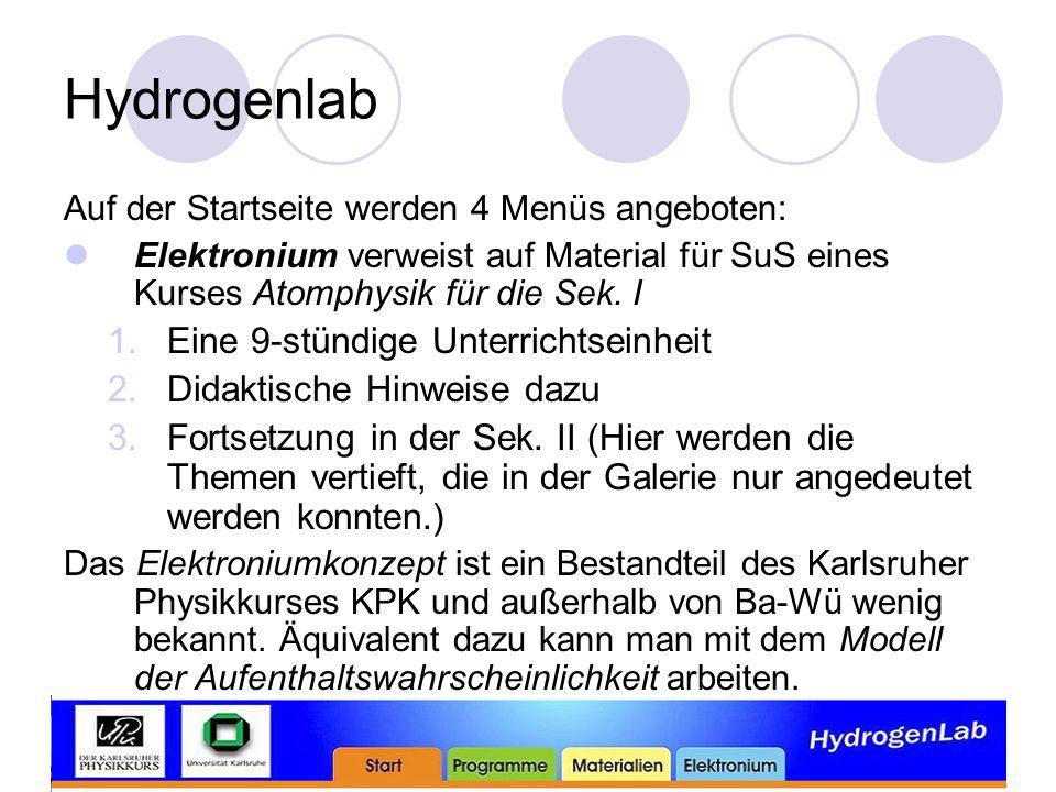 Hydrogenlab Auf der Startseite werden 4 Menüs angeboten: Elektronium verweist auf Material für SuS eines Kurses Atomphysik für die Sek.