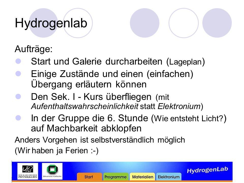 Hydrogenlab Aufträge: Start und Galerie durcharbeiten ( Lageplan ) Einige Zustände und einen (einfachen) Übergang erläutern können Den Sek.
