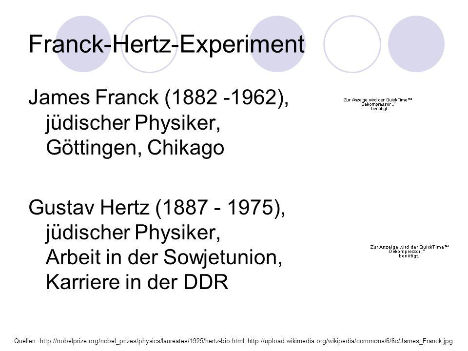 Franck-Hertz-Experiment James Franck (1882 -1962), jüdischer Physiker, Göttingen, Chikago Gustav Hertz (1887 - 1975), jüdischer Physiker, Arbeit in der Sowjetunion, Karriere in der DDR Quellen: http://nobelprize.org/nobel_prizes/physics/laureates/1925/hertz-bio.html, http://upload.wikimedia.org/wikipedia/commons/6/6c/James_Franck.jpg