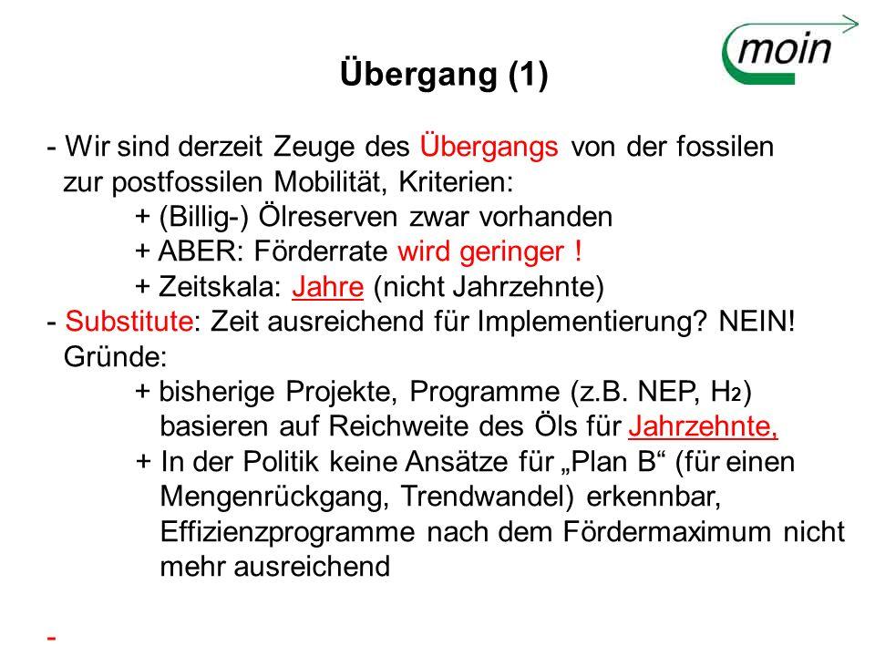 Übergang (1) - Wir sind derzeit Zeuge des Übergangs von der fossilen zur postfossilen Mobilität, Kriterien: + (Billig-) Ölreserven zwar vorhanden + AB