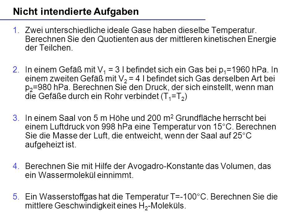E. Einhaus, H. Schecker Nicht intendierte Aufgaben 1.Zwei unterschiedliche ideale Gase haben dieselbe Temperatur. Berechnen Sie den Quotienten aus der