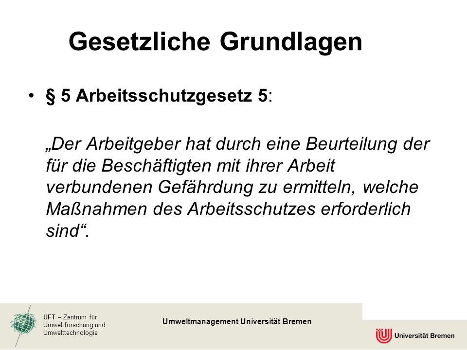 UFT – Zentrum für Umweltforschung und Umwelttechnologie Umweltmanagement Universität Bremen § 5 Arbeitsschutzgesetz 5: Der Arbeitgeber hat durch eine