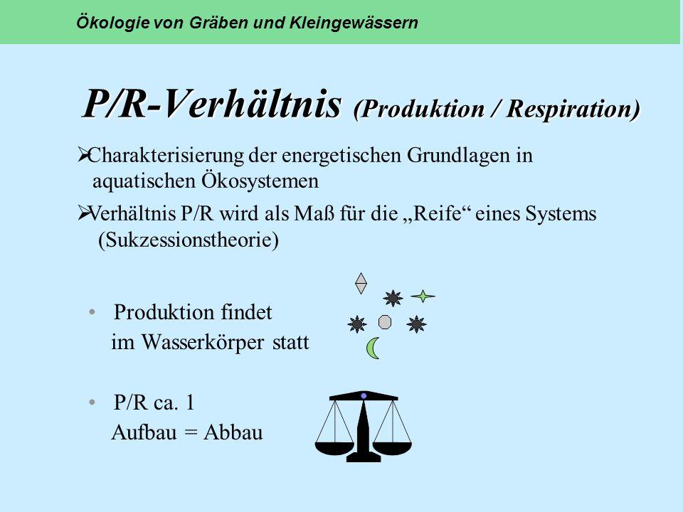P/R-Verhältnis (Produktion / Respiration) Produktion findet im Wasserkörper statt P/R ca. 1 Aufbau = Abbau Ökologie von Gräben und Kleingewässern Char