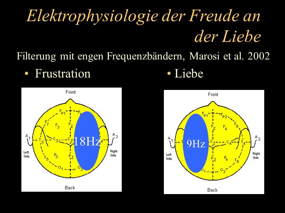 Elektrophysiologie der Freude an der Liebe Frustration Liebe 18Hz 9Hz Filterung mit engen Frequenzbändern, Marosi et al. 2002